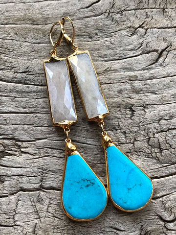 Arizona Turquoise and Moonstone Large Teardrop Earrings by Sage Machado, Arizona Turquoise and Moonstone Earrings - The Sage Lifestyle