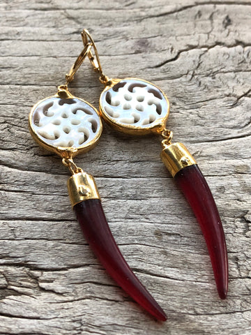 Carved Mother of Pearl and Burgandy Horn Large Teardrop Earrings by Sage Machado, Carved Mother of Pearl and Burgandy Horn Earrings - The Sage Lifestyle
