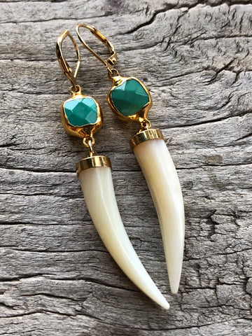 Chrysopase and Mother of Pearl Horn Large Teardrop Earrings by Sage Machado, Green Chrysopase and Mother of Pearl Horn Earrings - The Sage Lifestyle