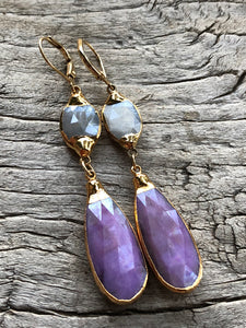 Grey Moonstone and Lavender Silverstone Large Teardrop Earrings by Sage Machado, Grey Moonstone and Lavander Silverstone Large Teardrop Earrings - The Sage Lifestyle
