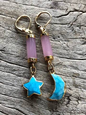 Rose Quartz and Arizona Turquoise Luna Earrings by Sage Machado, Rose Quartz and Arizona Turquoise Luna Earrings
