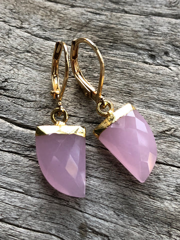 Rose Quartz Horn Earrings by Sage Machado, Rose Quartz Horn Earrings