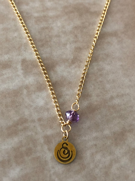 Amethyst Chloe Gemstone Perfume Bottle Gold Necklace by Sage Machado - The Sage Lifestyle