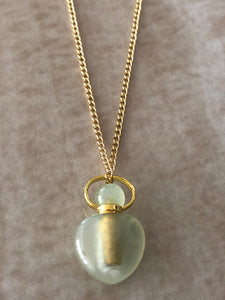 Jade Chloe Gemstone Perfume Bottle Gold Necklace by Sage Machado