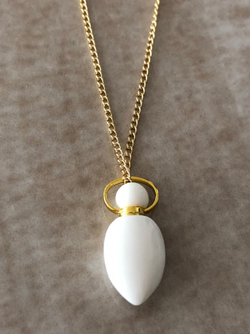 White Jade Chloe Gemstone Perfume Bottle Gold Necklace by Sage Machado