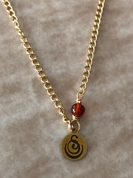 Carnelian Chloe Gemstone Perfume Bottle Gold Necklace by Sage Machado - The Sage Lifestyle