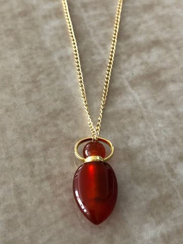 Carnelian Chloe Gemstone Perfume Bottle Gold Necklace by Sage Machado
