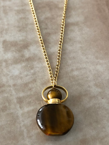 Tiger's Eye Chloe Gemstone Perfume Bottle Necklace by Sage - The Sage Lifestyle
