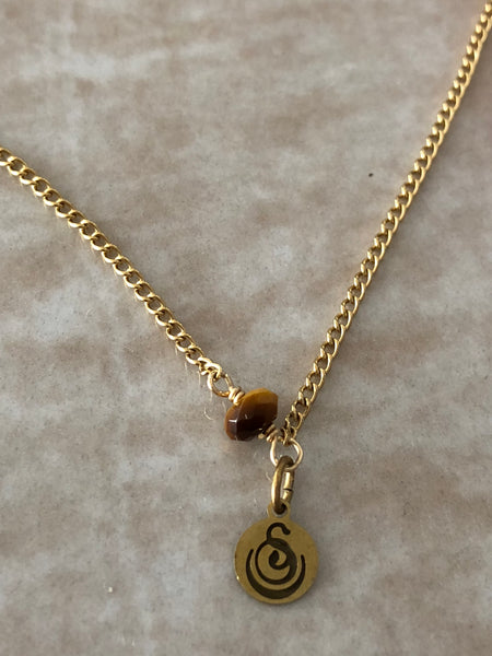 Tiger's Eye Chloe Gemstone Perfume Bottle Necklace by Sage