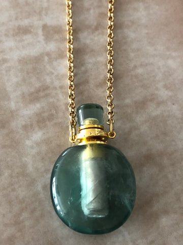Green Flourite Angelina Gemstone Perfume Bottle Gold Necklace by Sage Machado