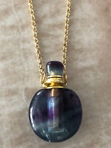 Rainbow Flourite Angelina Gemstone Perfume Bottle Gold Necklace by Sage Machado - The Sage Lifestyle