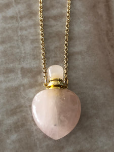 Rose Quartz Angelina Gemstone Perfume Bottle Gold Necklace by Sage Machado - The Sage Lifestyle