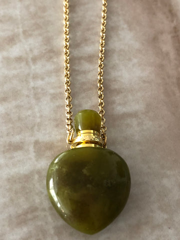 Peridot Angelina Gemstone Perfume Bottle Gold Necklace by Sage Machado - The Sage Lifestyle