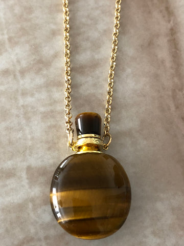 Tiger's Eye Angelina Gemstone Perfume Bottle Gold Necklace by Sage Machado - The Sage Lifestyle