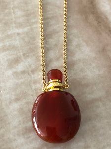 Carnelian Angelina Gemstone Perfume Bottle Gold Necklace by Sage Machado - The Sage Lifestyle