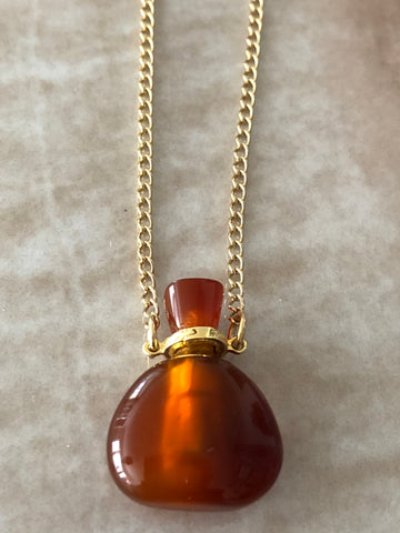 Carnelian Mini Angelina Gemstone Perfume Bottle Gold Necklace by Sage Machado