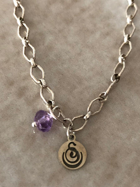 Amethyst Angelina Gemstone Perfume Bottle Silver Necklace by Sage Machado - The Sage Lifestyle