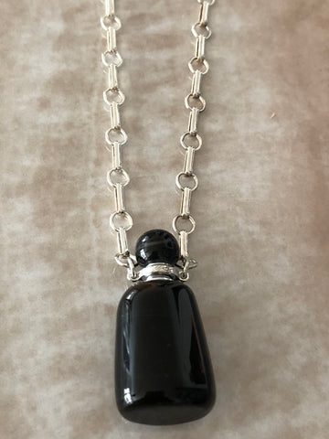 Black Tibetan Agate Angelina Gemstone Perfume Bottle Silver Necklace by Sage Machado - The Sage Lifestyle
