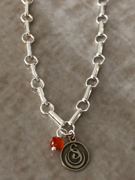 Carnelian Angelina Gemstone Perfume Bottle Silver Necklace by Sage Machado - The Sage Lifestyle
