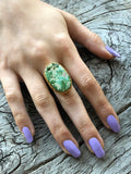 Green Turquoise Oval Ring by Sage Machado, Green Turquoise One Of A Kind Gold Ring