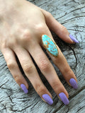 Blue Turquoise Oval Ring by Sage Machado, Blue Turquoise One Of A Kind Gold Ring