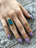 Blue Turquoise Rectangle Ring by Sage Machado, Blue Turquoise One Of A Kind Gold Ring