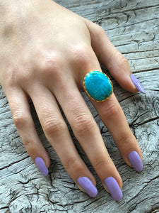 Blue Turquoise Round Ring by Sage Machado, Blue Turquoise One Of A Kind Gold Ring - The Sage Lifestyle