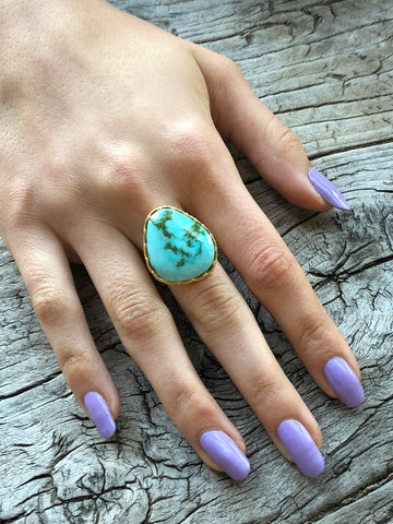 Blue Turquoise Ring by Sage Machado, Blue Turquoise One Of A Kind Gold Ring