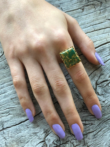 Green Turquoise Square Ring by Sage Machado, Green Turquoise One Of A Kind Gold Ring