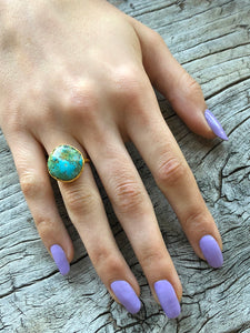 Blue Turquoise Round Ring by Sage Machado, Blue Turquoise One Of A Kind Gold Ring