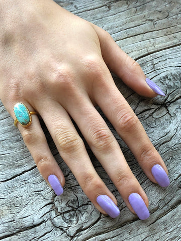 Blue Turquoise Small Oval Ring by Sage Machado, Blue Turquoise One Of A Kind Gold Ring