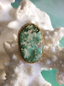 Green Turquoise Oval Ring by Sage Machado, Green Turquoise One Of A Kind Gold Ring - The Sage Lifestyle