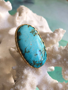 Sky Blue Turquoise Oval Ring by Sage Machado, Sky Blue Turquoise One Of A Kind Gold Ring - The Sage Lifestyle