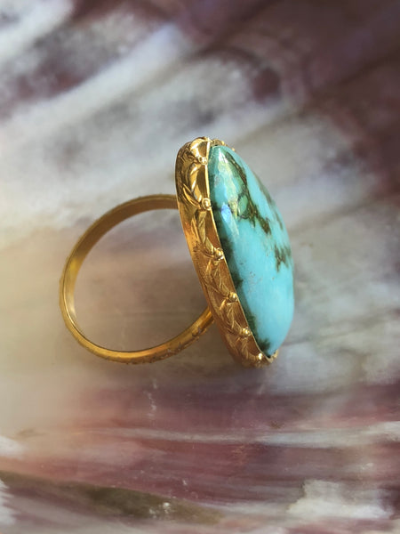 Blue Turquoise Ring by Sage Machado, Blue Turquoise One Of A Kind Gold Ring - The Sage Lifestyle