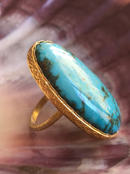 Sky Blue Turquoise Oval Ring by Sage Machado, Sky Blue Turquoise One Of A Kind Gold Ring