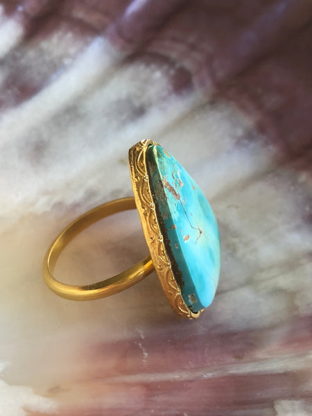 Sky Blue Turquoise Ring by Sage Machado, Sky Blue Turquoise One Of A Kind Gold Ring