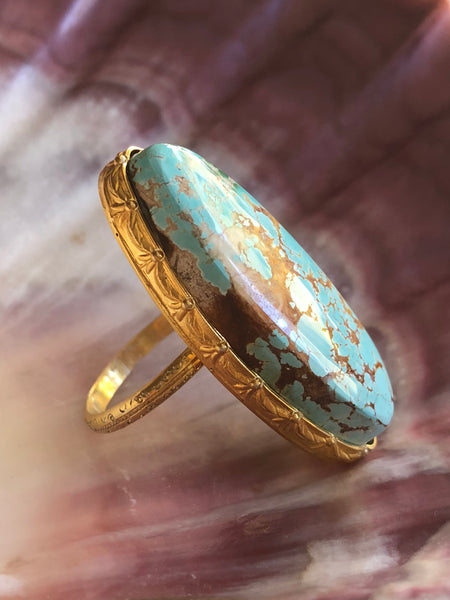 Blue Turquoise Oval Ring by Sage Machado, Blue Turquoise One Of A Kind Gold Ring - The Sage Lifestyle