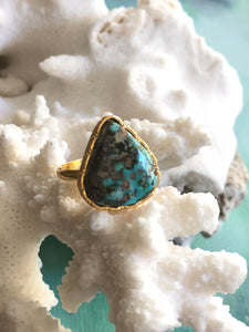 Blue Turquoise Tear Drop Ring by Sage Machado, Blue Turquoise One Of A Kind Gold Ring - The Sage Lifestyle