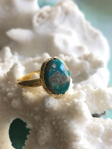 Blue Turquoise Small Round Ring by Sage Machado, Blue Turquoise One Of A Kind Gold Ring - The Sage Lifestyle