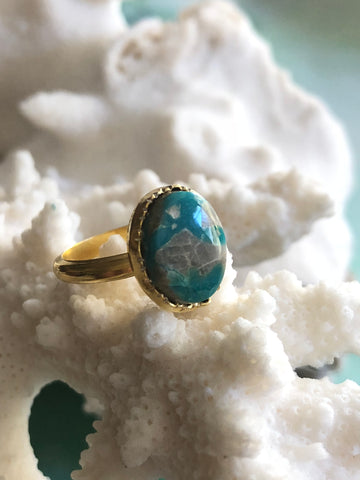 Blue Turquoise Small Round Ring by Sage Machado, Blue Turquoise One Of A Kind Gold Ring