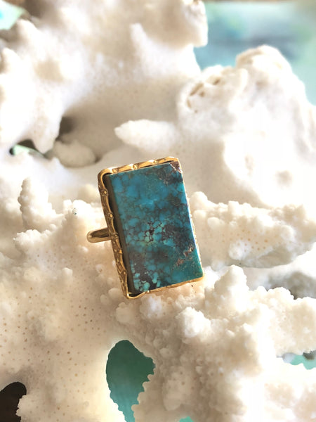 Blue Turquoise Rectangle Ring by Sage Machado, Blue Turquoise One Of A Kind Gold Ring - The Sage Lifestyle
