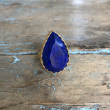 Gold Faceted Blue Lapis Ring by Sage