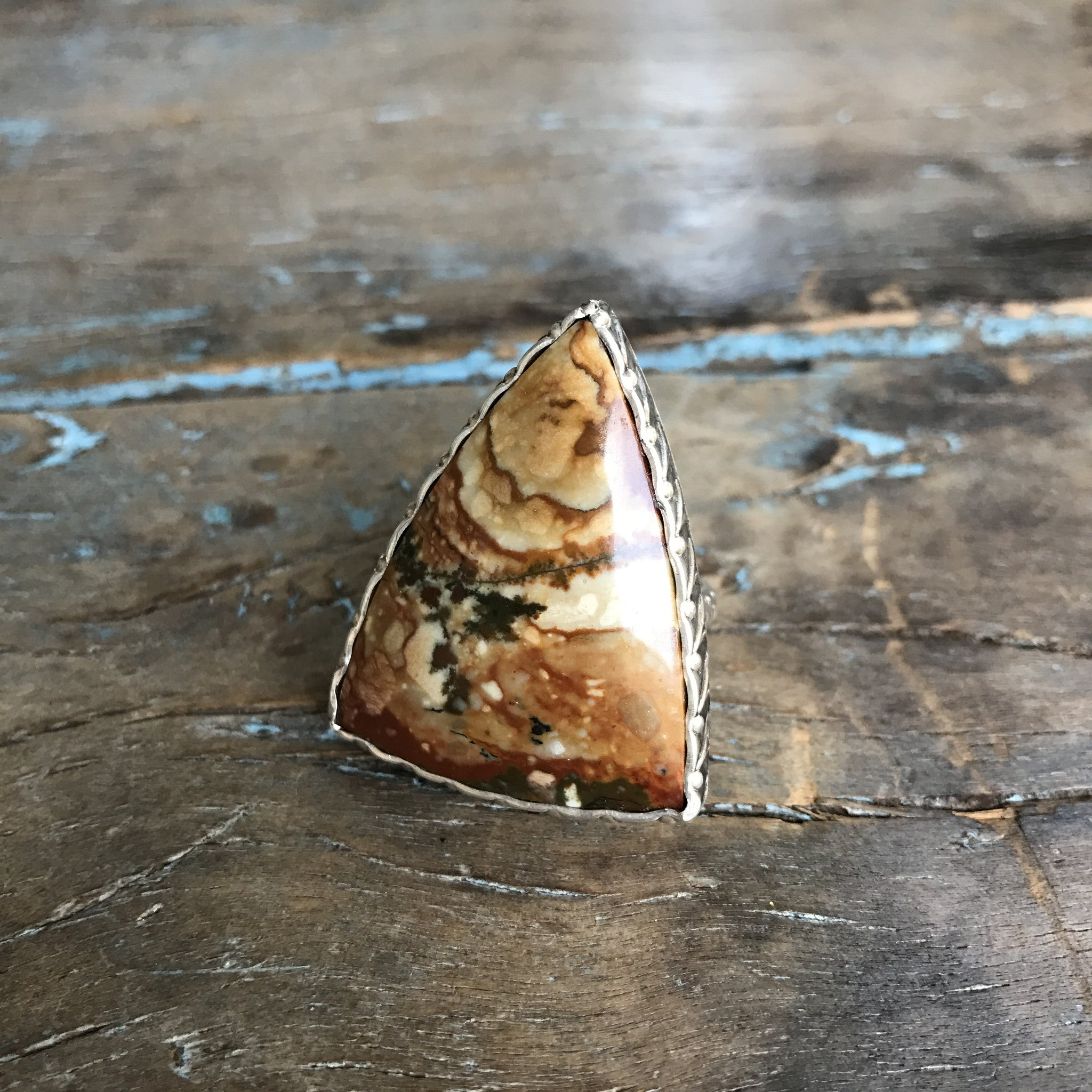 Sterling Silver Picture Jasper Triangle Ring by Sage - The Sage Lifestyle