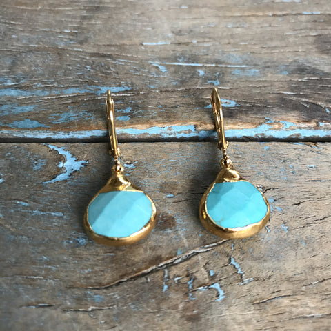 Gold Arizona Turquoise Drop Earrings by Sage Machado