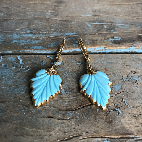 Gold Arizona Turquoise Carved Leaf Earrings by Sage Machado