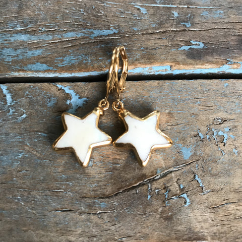 Gold Bone Star Earrings by Sage Machado