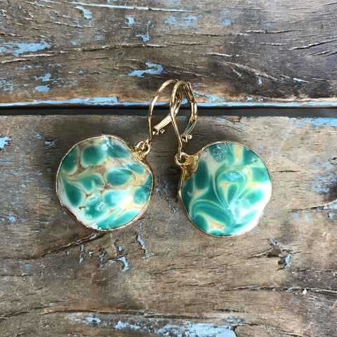 Gold Czechoslovakian Abstract Hand-painted Turquoise Glass Earrings by Sage Machado
