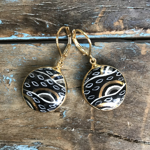 "Gold Czechoslovakian Glass Hand-painted ""Evil-Eye"" Earrings by Sage Machado"