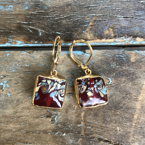 Gold Czechoslovakian Hand-painted Burgundy Glass Floral Earrings by Sage Machado