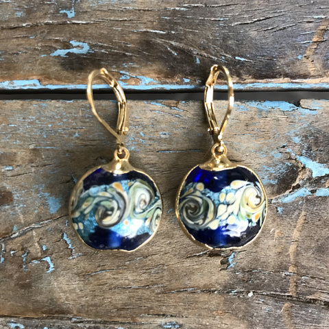 Gold Czechoslovakian Hand-painted Lapis Glass Earrings by Sage Machado - The Sage Lifestyle